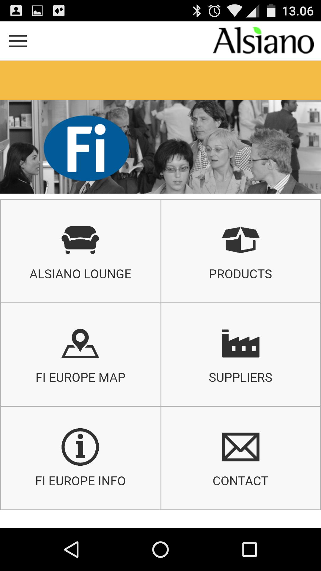 App Udvikling Alsiano App hovedmenu
